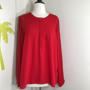 New 1.State Red Long Sleeve Top Size Large